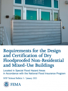 The cover page of a FEMA publication regarding the requirements for the design and certification of dry floodproofed non-residential and mixed-use buildings