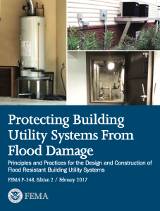 The cover page of a FEMA publication regarding protecting building utility systems from flood damage.